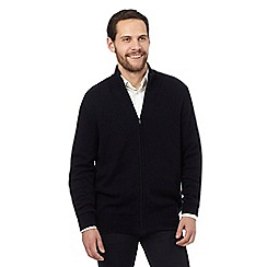 The Collection - Navy wool blend zip through sweater