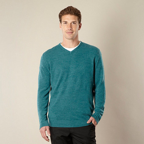 Thomas Nash - Big and tall dark turquoise v neck jumper