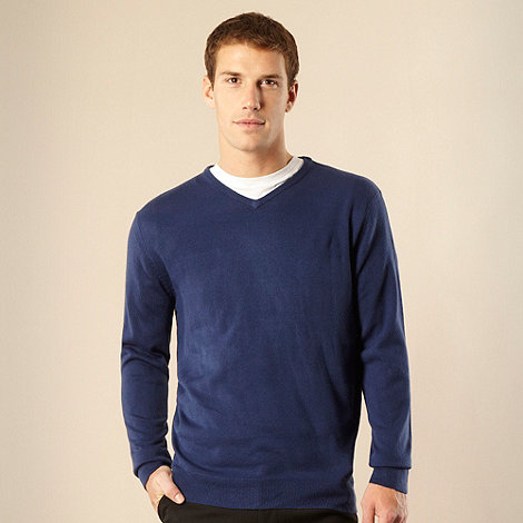 Thomas Nash - Big and tall dark blue v-neck jumper