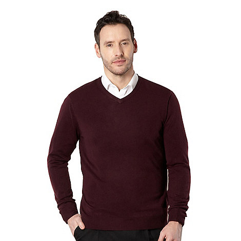 Thomas Nash - Big and tall plum v-neck jumper