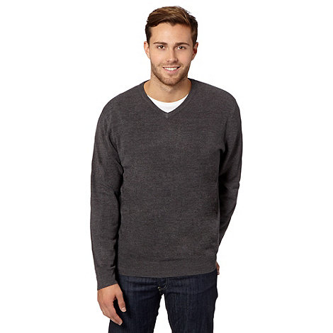 Thomas Nash - Big and tall dark grey v neck jumper