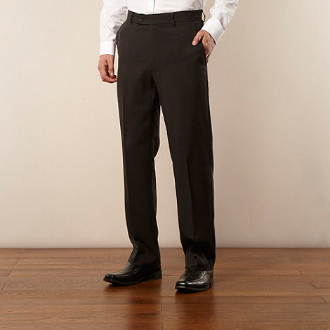 Thomas Nash - Dark grey brushed pinstripe pleat-front formal trousers