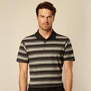 Grey tonal striped polo shirt