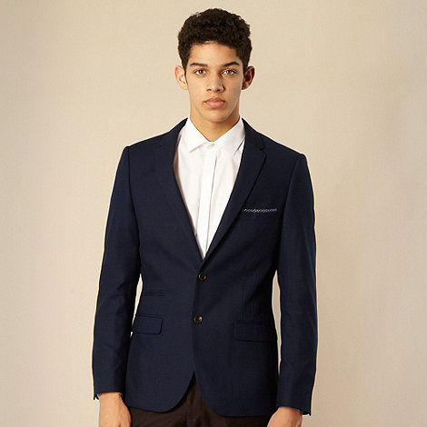 Red Herring Red Line - Navy polka dot trimmed slim fit two button fastening suit jacket