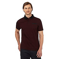 The Collection - Dark red textured collar polo shirt