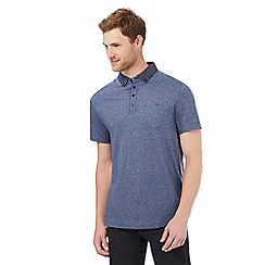 The Collection - Big and tall blue woven printed collar regular fit polo shirt