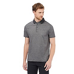 The Collection - Big and tall grey woven printed collar regular fit polo shirt