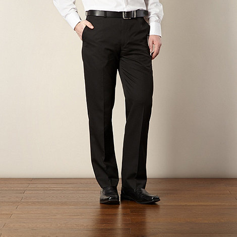 Thomas Nash - Big and tall black flat front tailored trousers