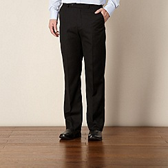 Thomas Nash - Black twill flat front trousers