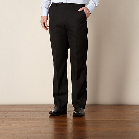 Thomas Nash - Big and tall black twill flat front trousers