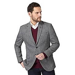 The Collection - Big and tall grey salt and pepper single breasted jacket with wool
