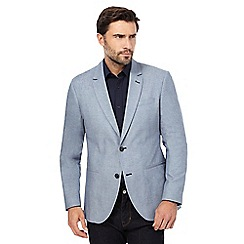 The Collection - Big and tall blue textured single breasted jacket