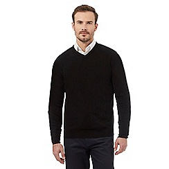 Thomas Nash - Big and tall black v-neck soft touch jumper