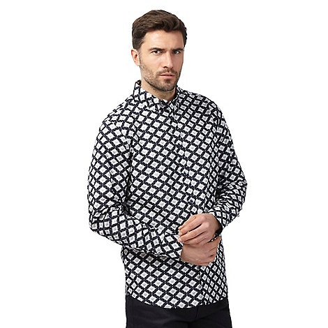 The Collection - Navy diamond print shirt