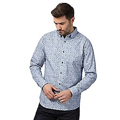The Collection - Big and tall blue tile print shirt