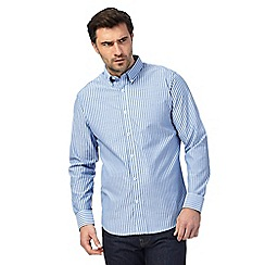 The Collection - Big and tall blue jacquard stripe button down shirt