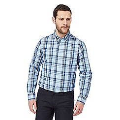 The Collection - Big and tall light blue large checked print regular fit shirt