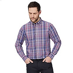 The Collection - Big and tall purple checked print classic fit shirt