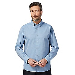 The Collection - Big and tall blue textured regular fit shirt