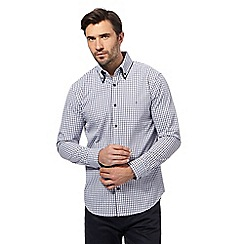 The Collection - Big and tall blue dobby check tailored fit shirt