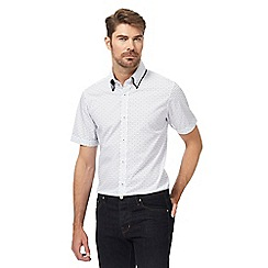 The Collection - Big and tall white geometric pattern shirt