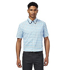 The Collection - Blue grid print tailored fit shirt