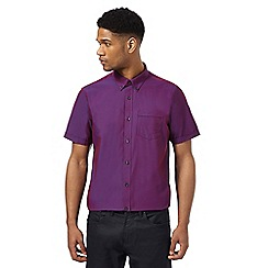 The Collection - Big and tall purpleshort sleeve tailored fit shirt