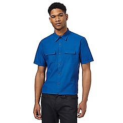 The Collection - Big and tall blue short sleeve tailored fit shirt