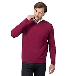 The Collection - Big and tall dark pink v neck jumper