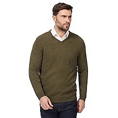 The Collection - Big and tall green v neck jumper