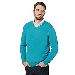 The Collection - Big and tall turquoise v neck jumper