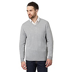 The Collection - Big and tall grey v neck jumper