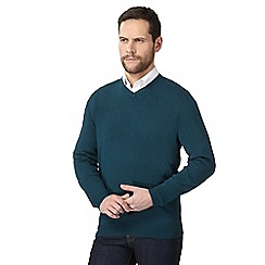 The Collection - Big and tall dark turquoise v neck jumper