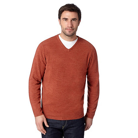 Thomas Nash - Orange V neck knitted jumper