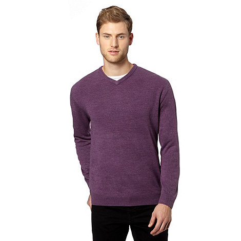 Thomas Nash - Big and tall dark purple V-neck knitted jumper