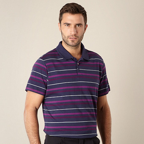 Thomas Nash - Navy multi tonal striped polo shirt