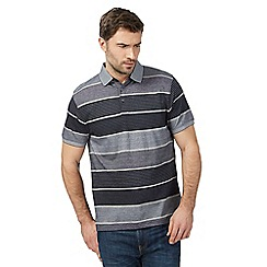 The Collection - Big and tall navy variegated textured striped polo shirt