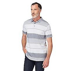 The Collection - Big and tall grey textured striped polo shirt