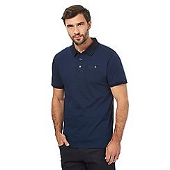 The Collection - Big and tall dark blue fine striped polo shirt