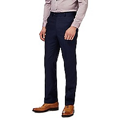 The Collection - Navy twill tailored trousers with linen