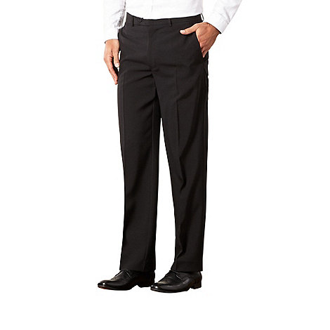 Thomas Nash - Black easy-care flat-front formal trousers