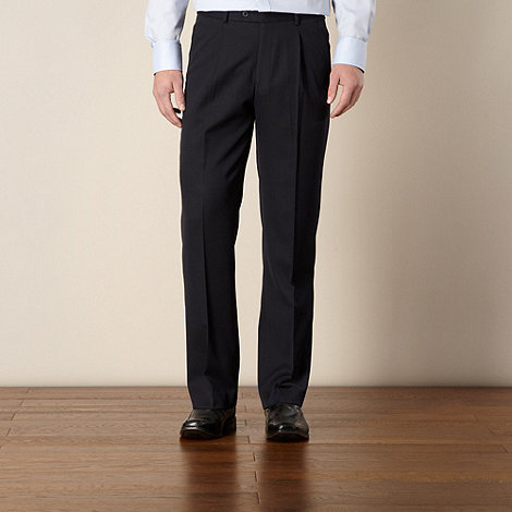Thomas Nash - Big and tall navy ultimate single-pleat front trouser