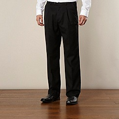 Thomas Nash - Big and tall black ultimate single-pleat front trouser