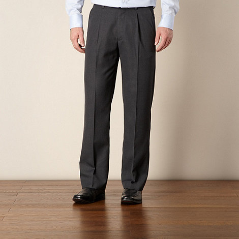 Thomas Nash - Big and tall grey ultimate single-pleat front trouser
