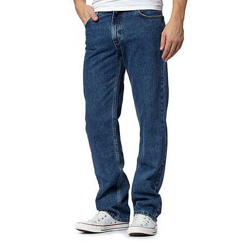 Lee - Brooklyn dark stonewash regular fit blue jeans