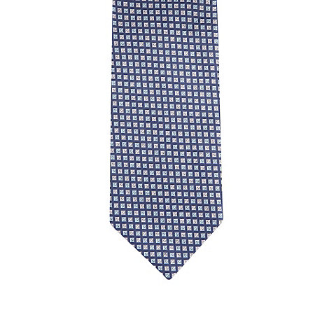 Thomas Nash - Navy mini squares embroidered tie