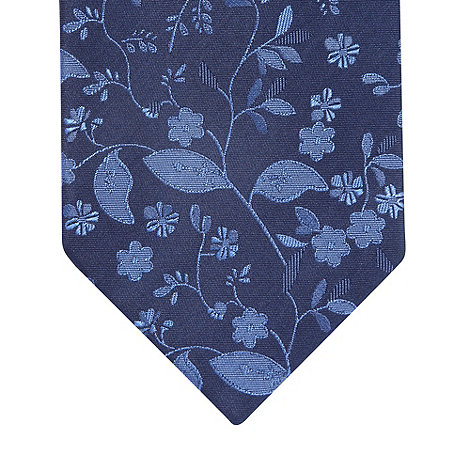 Thomas Nash - Navy embroidered floral tie