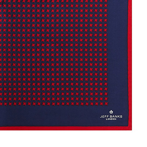 Jeff Banks - Red dogtooth patterned silk pocket square
