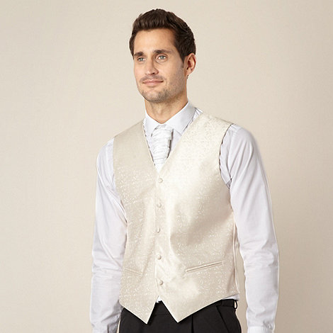 Black Tie - Cream jacquard waistcoat