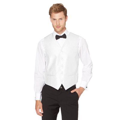Back Tie Siver twi paisey print jacquard waistcoat - . -